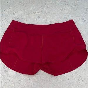 Red lululemon speed up shorts